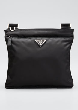Prada Vela Flat Crossbody Bag, Black (Nero)