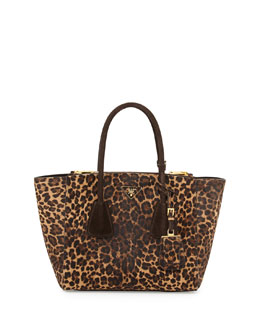 Prada Cavallino Twin-Pocket Tote Bag, Leopard Multi