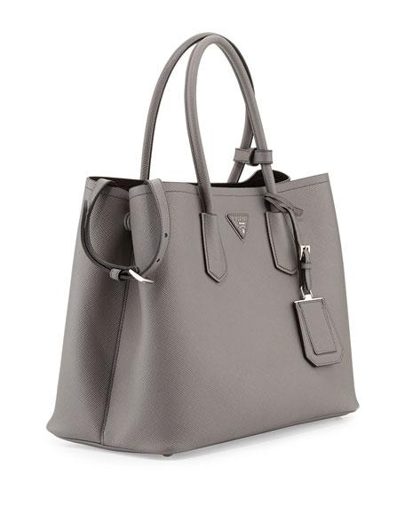 af8c750459fa4b Prada Saffiano Cuir Medium Double Bag, Gray (Marmo)