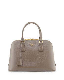 Prada Saffiano Vernice Small Promenade Satchel Bag, Light Gray (Argill)