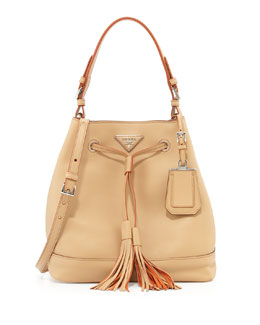 Prada City Calf Hobo Bucket Bag, Tan (Noisette)