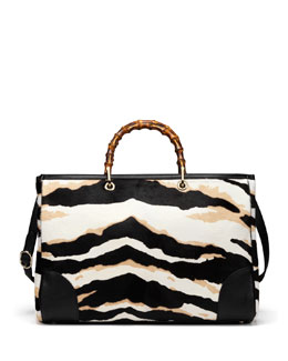 Gucci Tiger-Print Bamboo Large Shopper Tote Bag, Black/White