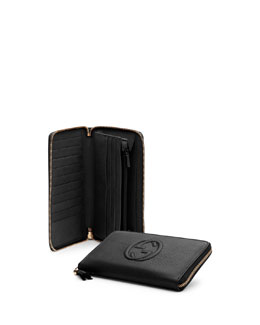 Gucci Soho Leather Travel Zip Around Wallet, Black