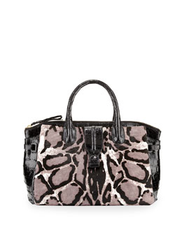 Nancy Gonzalez Leopard-Print Medium Mixed-Media Satchel Bag, Black/White