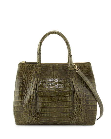 Nancy gonzalez crocodile large double zip tote bag olive for Nancy gonzalez crocodile tote