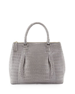 Nancy Gonzalez Executive Double-Zip Crocodile Tote Bag, Gray