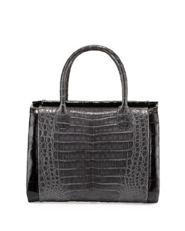 Nancy Gonzalez Crocodile Medium Boxcar Bag, Charcoal/Black