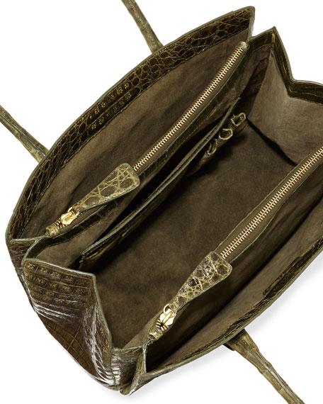 Crocodile Small Multi-Pocket Satchel Bag, Olive