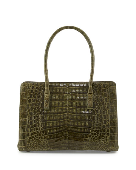 Crocodile Small Multi-Pocket Satchel Bag, Olive