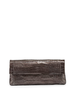 Nancy Gonzalez Crocodile Flap Clutch Bag, Anthracite