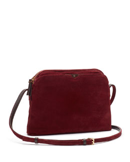 THE ROW Multi-Pouch Suede Crossbody Bag, Burgundy