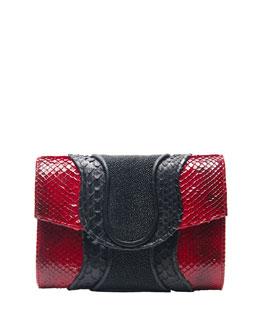 Khirma Eliazov Jolie Snake & Stingray Clutch Bag, Red/Black