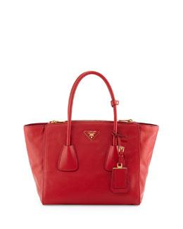Prada Vitello Twin Pocket Tote Bag, Red (Fuoco)
