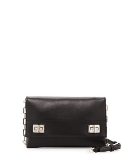 Prada Lux Calf Flap Crossbody Bag, Black (Nero)