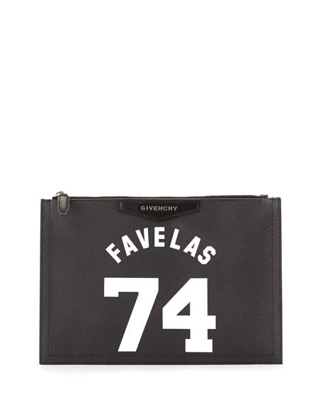 Favelas 74 Medium Leather-Zip Pouch, Black/White