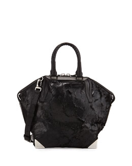 Alexander Wang Prisma Coated Calf Hair Small Emile Satchel Bag, Black