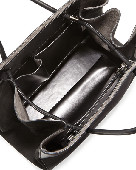 Prisma Large Calfskin Tote Bag, Black