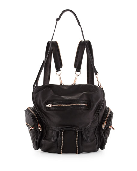 Marti Mini Leather Backpack, Black