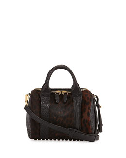 Alexander Wang Rockie Small Spotted Calf Hair Crossbody Satchel, Leopard Haze