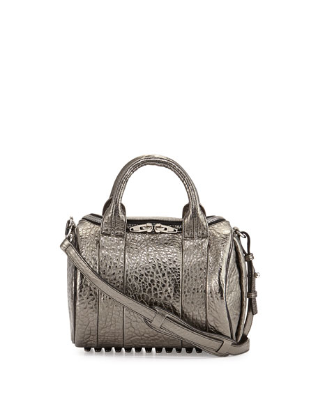 Rockie Metallic Crossbody Satchel Bag, Silver