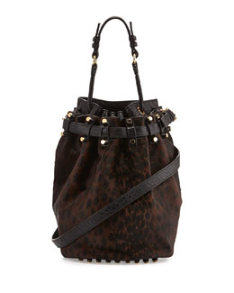 Alexander Wang Diego Spotted Calf Hair Bucket Bag, Leopard Haze