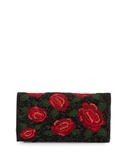 Alice + Olivia Me Beaded Rose Clutch Bag, Red/Multi
