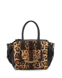 Time's Arrow Jo Mini Calf Hair Tote Bag, Leopard-Print