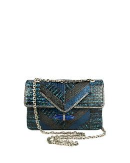 Judith Leiber Couture Zahara Patchwork Snake Shoulder Bag, Lapis
