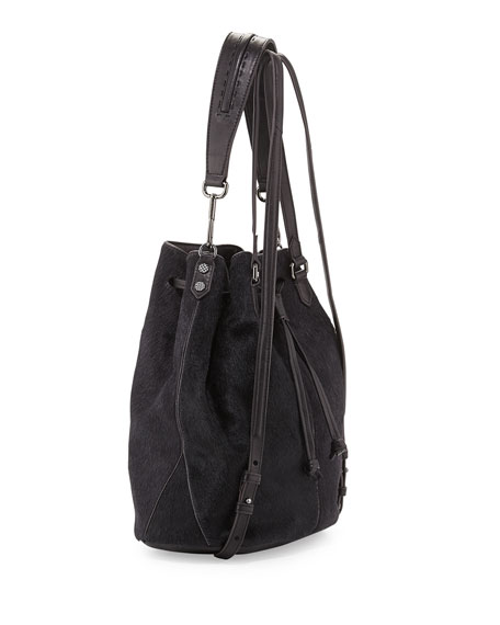 Cynnie Calf Hair Drawstring Backpack, Black