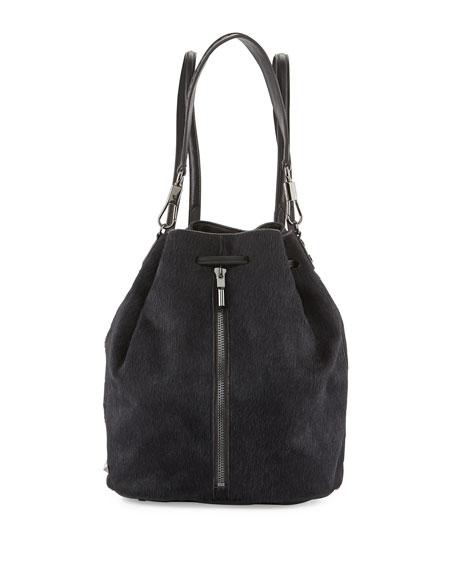 Cynnie Calf Hair Drawstring Backpack, Black