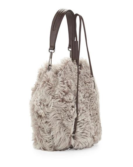 Cynnie Lamb Fur Drawstring Backpack