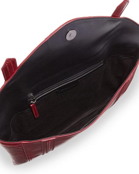 Bowery Embossed Envelope Clutch Bag, Dark Red