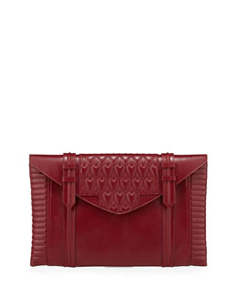Reece Hudson Bowery Embossed Envelope Clutch Bag, Dark Red