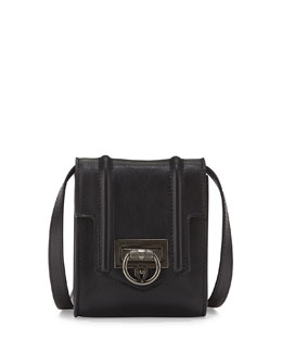 Siren Mini Leather Crossbody Bag, Black