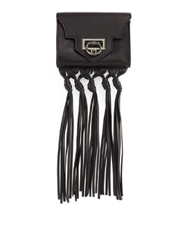 Rider Mini Fringe Crossbody Bag, Black
