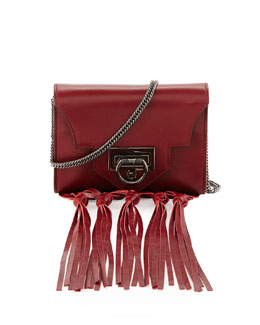 Reece Hudson Rider Mini Fringe Crossbody Bag, Dark Red
