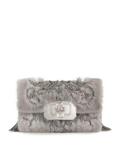 Phoebe Large Mink Fur Shoulder Bag, Gray