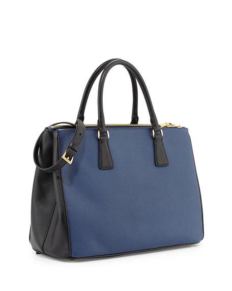 c493706a5321 Prada Saffiano Lux Bicolor Double-Zip Tote Bag, Blue/Black (Bluette+ ...