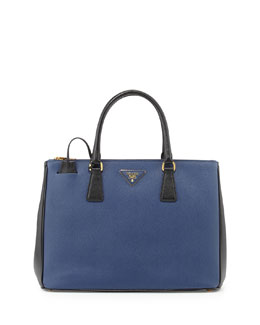 Prada Saffiano Lux Bicolor Double-Zip Tote Bag, Blue/Black (Bluette+Nero)