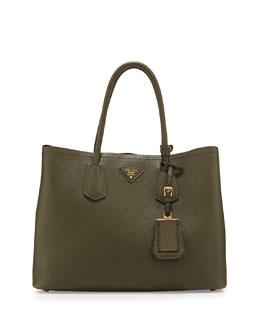 Prada Saffiano Cuir Medium Double Tote Bag, Green (Militare)