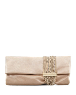 Jimmy Choo Chandra Shimmer Suede Chain Clutch Bag, Champagne