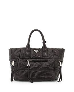 Prada Napa Bomber Tote Bag, Black (Nero)