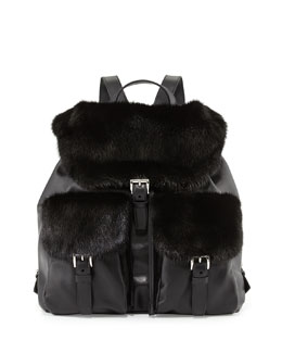 Soft Calf & Mink Fur Backpack, Black (Nero)