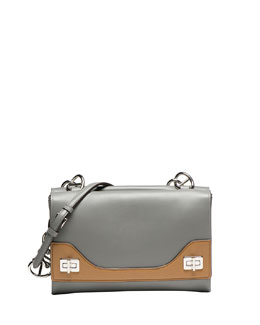 Prada Vitello Soft Bicolor Chain Shoulder Bag, Nude/Gray (Marmo+Cannella)