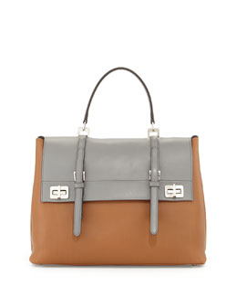Prada Lux Calf Large Flap Satchel Bag, Nude/Gray (Cannella+Marmo)