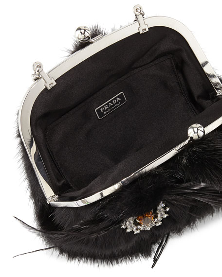"Mink Fur ""Cat Bag"" Pochette, Black (Nero)"