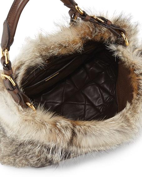 Prada Volpetta Shoulder Bag with Fur Charm, Natural (Naturale)