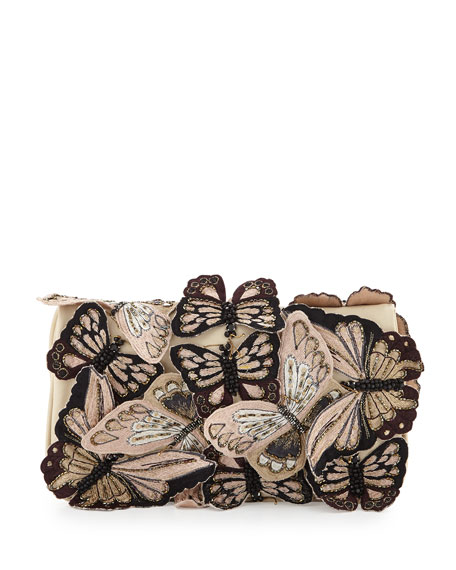 Embroidered Butterfly Clutch Bag, Nude