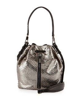 Cynnie Snake Embossed Mini Bucket Bag, Anthracite
