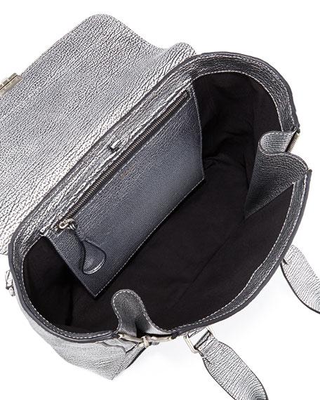 Pashli Medium Leather Satchel Bag, Silver